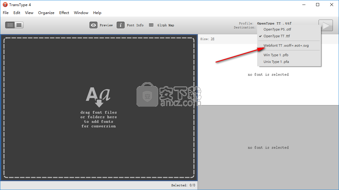 transtype For windows(字体格式转换工具)