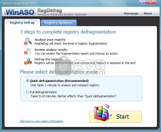 WinASO Regdefrag(多功能注册表清理与管理工具)