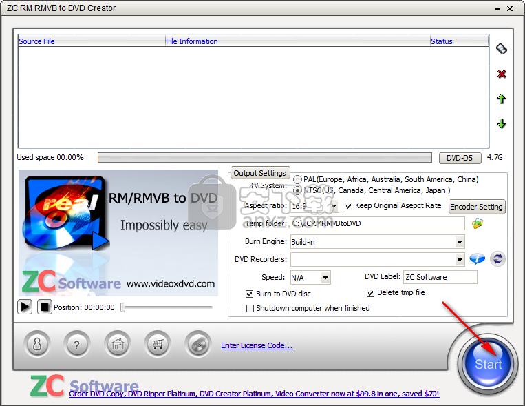 ZC RM RMVB to DVD Creator(DVD刻录工具)